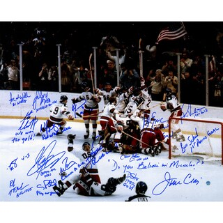 1980 USA Hockey Team Signed 16x20 Photograph w/ Inscriptions (17 Signatures)