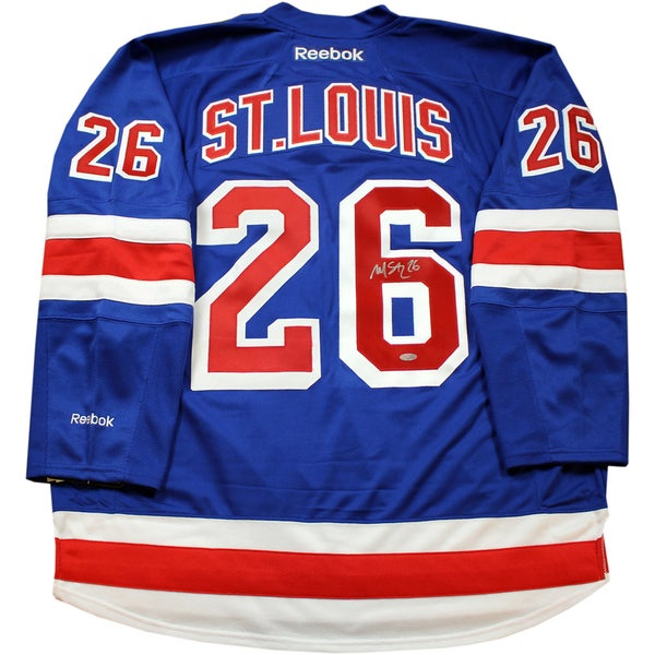 hot sale online 9ffed fc7bc Martin St. Louis Signed Blue Premier New York Rangers Jersey