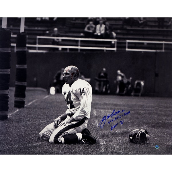 "YA Tittle Signed Agony of Defeat Blood 16x20 Metallic Photo w/"" 4x NFL MVP , HOF 71""Insc."