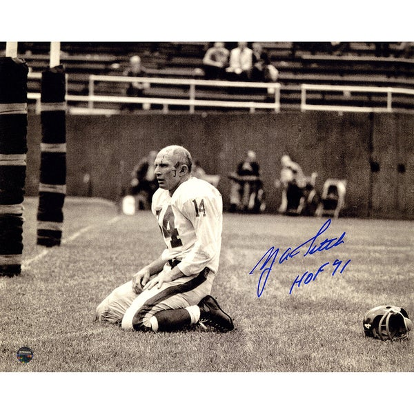 """Y.A. Tittle Signed Agony of Defeat Blood 8x10 Photo w/ """"HOF"""" Insc."""