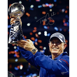 Tom Coughlin Holding Lombardi Trophy Signed 16x20 photo