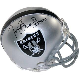 "Tim Brown Signed Oakland Raiders Mini Helmet w/ ""HOF 2015"" Insc."