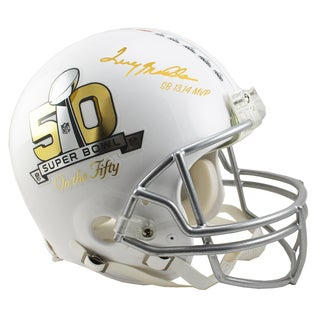 """Terry Bradshaw Signed Riddell Super Bowl 'On The 50' White Authentic Helmet w/ """"SB XII- XIV MVP"""" Insc. (LE/50)"""