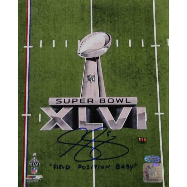 "Steve Weatherford SB XLVI Logo Vertical 8x10 Photo w/ ""Field Position Baby"" Insc."