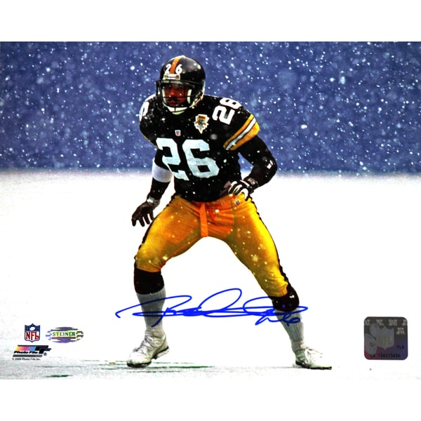 Rod Woodson Signed Steelers In Snow 8x10
