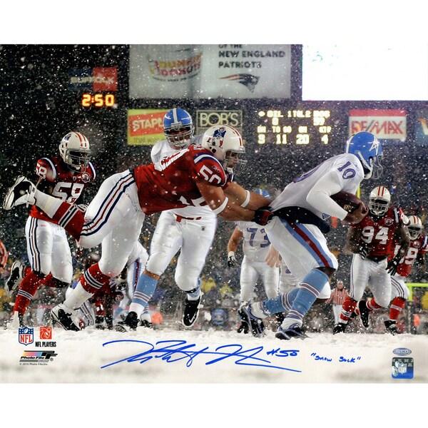 "Rob Ninkovich Signed New England Patriots vs Oilers In Snow 16x20 Photo w/ ""Snow Sack""Insc."