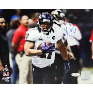 Ray Rice Signed Warming Up Before Super Bowl 8x10 Photo