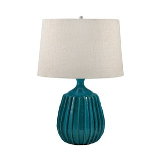 Ribbed Sky Blue Terra Cotta Table Lamp