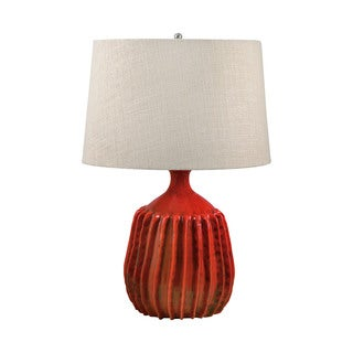 Ribbed Tomato Red Terra Cotta Table Lamp