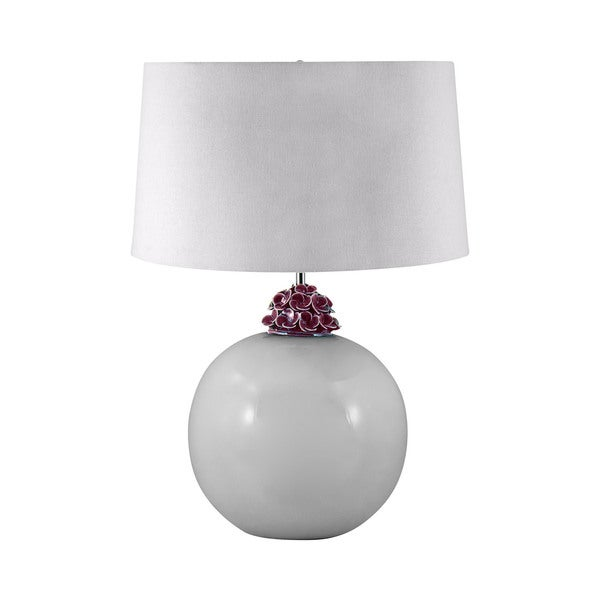 Ceramic White And Amethyst Ball Table Lamp