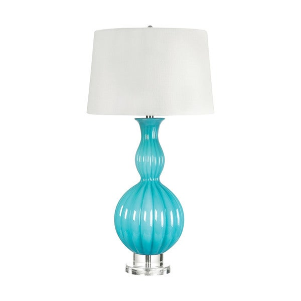Glass Powder Blue Gourd Table Lamp