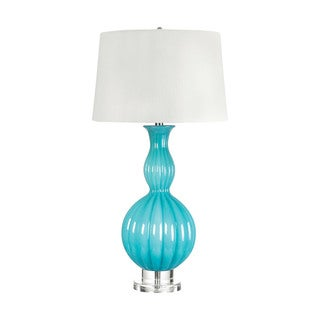 Glass Powder Blue Gourd Table Lamp