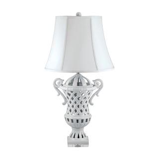 White Ceramic Lattice-Handled Urn Table Lamp