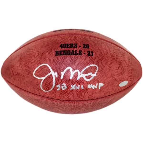 "Joe Montana Signed Super Bowl XVI Football w/""SB XVI MVP insc. & final score Engraved"