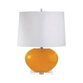 Orange Blown Glass Oval Table Lamp (Set of 2)