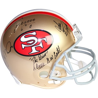 "Joe Montana & John Taylor Dual Signed San Francisco 49ers Replica Helmet w/ ""The Drive"" and TD Play Insc"