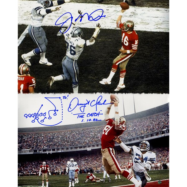 "Joe Montana & Dwight Clark Dual Signed ""The Catch"" 16x20 Vertical Metallic Photo w/ Drawn Play Insc"