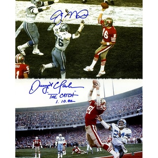"Joe Montana & Dwight Clark Dual Signed ""Catch"" 16x20 Vertical Photo w/ ""The Catch 1.10.82 "" Insc By Clark"