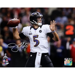 Joe Flacco Throwing Ball During Super Bowl XLVII Signed 8x10 Photo