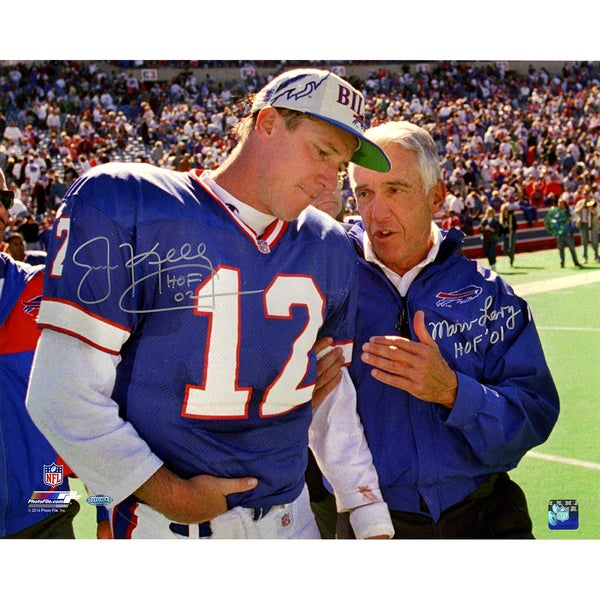Jim Kelly/Marv Levy Dual Signed and Inscribed 16x20 Photo w/ HOF