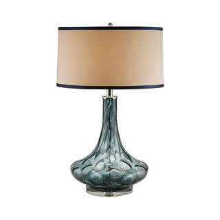 Blue Thumb Print Glass Table Lamp