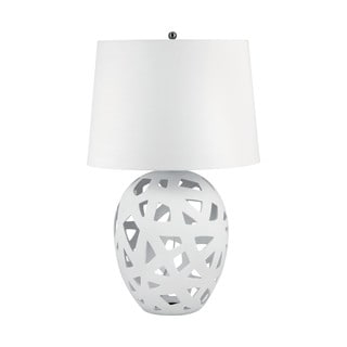 White Bisque Ceramic Open Work Table Lamp