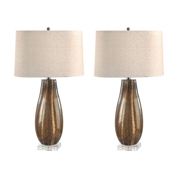 Sand Glass Oval Table Lamp (Set of 2)