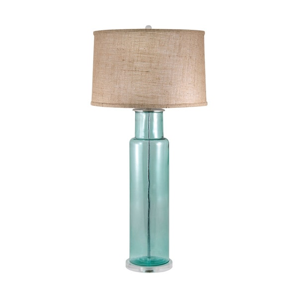 Blue Recycled Glass Cylinder Table Lamp