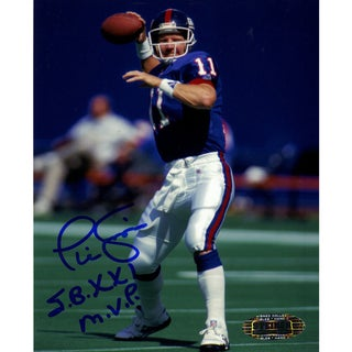 "Phil Simms 4x5 Passing Photo w/ ""SB XXI MVP"" insc"