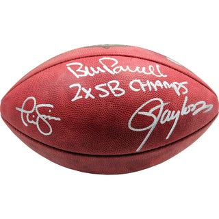 Parcells/Taylor/Simms Triple Signed NFL Football w/ 2X SB Champs