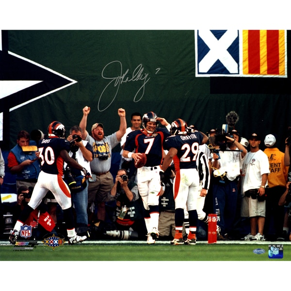 John Elway Signed horizontal mile high salute 16x20 Photo