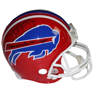 """Jim Kelly Signed Buffalo Bills Red Authentic Helmet w/ """"No One Circles the Wagons..."""" Insc."""