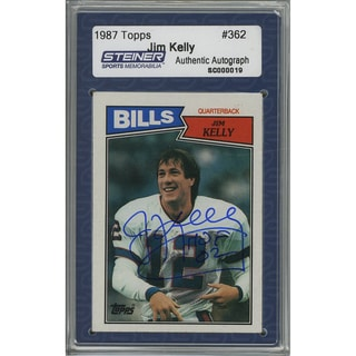 "Jim Kelly Signed 1987 Topps Rookie Card w/ "" HOF""Insc. (Slabbed by Steiner)"