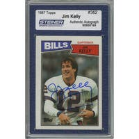 Jim Kelly Signed  1987 Topps Rookie Card (Slabbed by Steiner)
