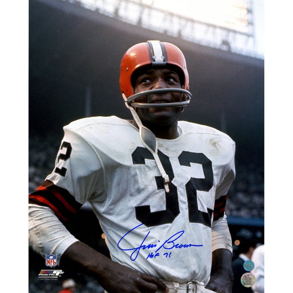 Jim Brown Cleveland Browns Signed Rookie Close-Up 16x20 Photo w/ HOF 71 Insc
