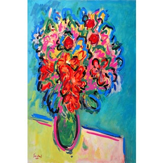 Marmont Hill - 'Red and Pink Bouquet' by Michael Woodward Painting Print on Canvas