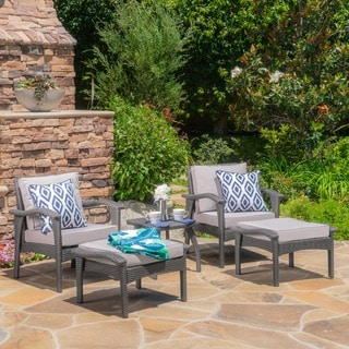 Honolulu Outdoor 5 Piece Wicker Seating Set With Cushions By Christopher  Knight Home