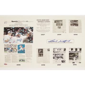"Frank Gifford ""Giants Rewrite History"" New York Times 22x17 Print"