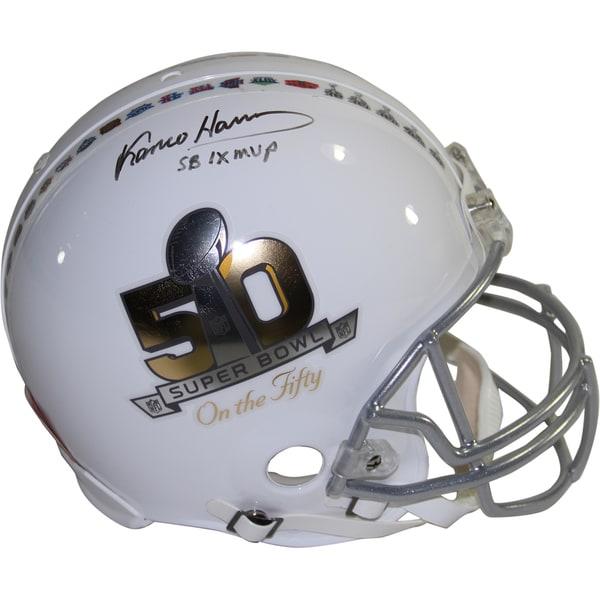 "Franco Harris Signed Riddell Super Bowl on the 50 White Authentic Helmet w/ ""SB IX MVP"" Insc. (LE/50)"