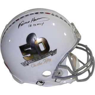 "Franco Harris Signed Riddell Super Bowl on the 50 White Authentic Helmet w/ ""SB IX MVP"" Insc. (LE/50)"