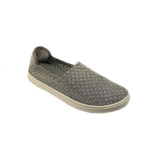 Women's Grey Slip-on Woven Walking Shoes