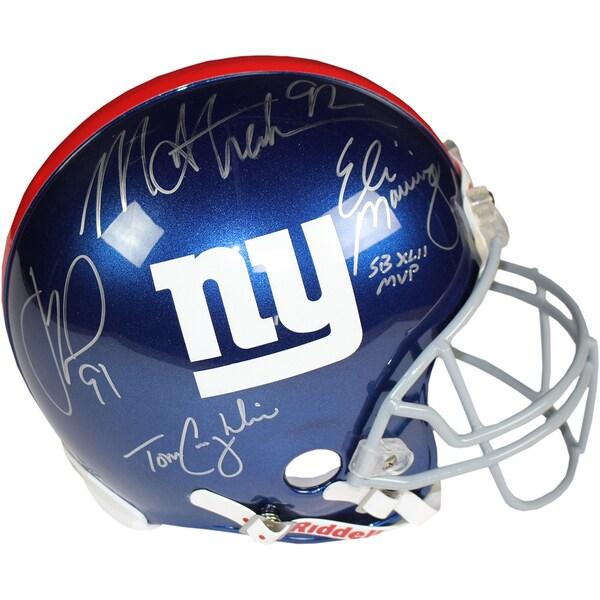 Eli Manning/Michael Strahan/Justin Tuck/ Tom Coughlin Signed Giants Full Size Authentic Helmet
