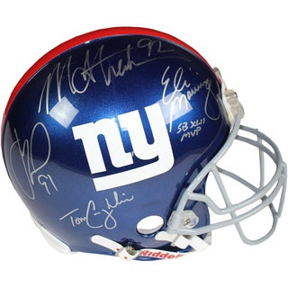 Eli Manning/Michael Strahan/Justin Tuck/ Tom Coughlin Signed Giants Full Size Authentic Helmet