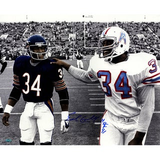 Earl Campbell Single Signed Walking With Walter Payton B/W 16x20 Photo w/ HOF Insc.