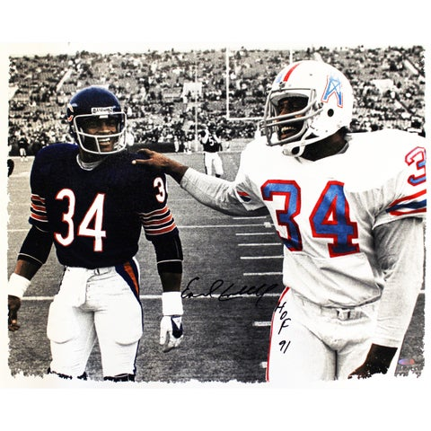 Earl Campbell Signed Walking With Walter Payton B/W w/ Color Accent 20x24 Canvas w/ HOF 91 Inscription