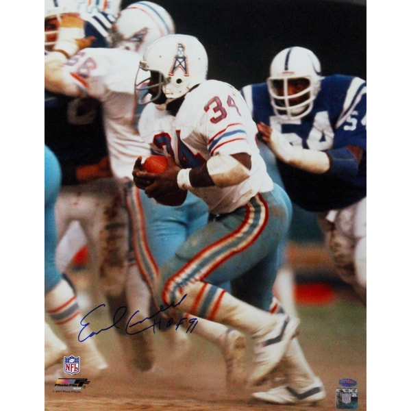 "Earl Campbell Houston Oilers Running White Jersey 16x20 Photo w/ ""HOF"" Insc"