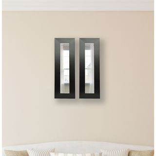 Ameican Made Rayne Black Wide Leather Mirror Panel