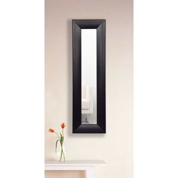 American Made Rayne Stitched Black Leather Mirror Panel