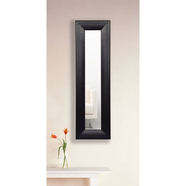 American Made Stitched Black Leather Mirror Panel
