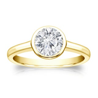 Auriya 14k Gold 3/4ct TDW Round-cut Diamond Solitaire Bezel Engagement Ring (H-I, VS1-VS2)